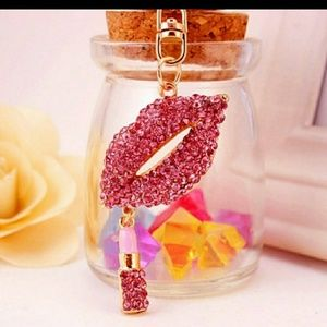 Handbags - Lip with small dangling lipstick charm